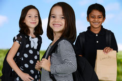 Children Going To School. Group of children who are going to school Royalty Free Stock Photography