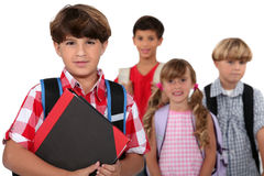 Children going to school. In the morning Royalty Free Stock Image