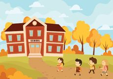 Free Children Going To School. Vector Illustration Of The Autumn Landscape With Schoolchildren Going Back To School. Royalty Free Stock Photos - 159020498