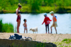 Children going to swim in lake at summer Royalty Free Stock Photo