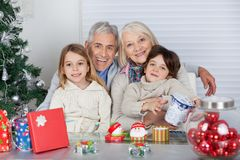 Children And Grandparents With Christmas Gifts Stock Images
