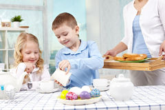 Children at granny s at home Stock Photography