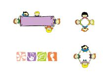 Children. Graphics set for the logo, badge, banner with children vector illustration