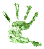 Children green hand print isolated on white Stock Images