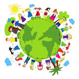 Children and green planet Royalty Free Stock Image