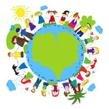 Children and green planet Royalty Free Stock Photos