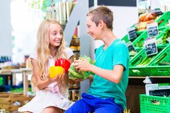Children grocery shopping in corner shop Royalty Free Stock Image