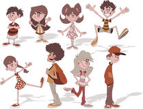 Children. Group of cartoon young people. Children Stock Photo