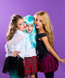 Children group of fashiondoll fashion girls on purple Royalty Free Stock Photos