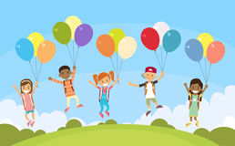 Children Group Fly on Colorful Balloons Outdoor Park Stock Images