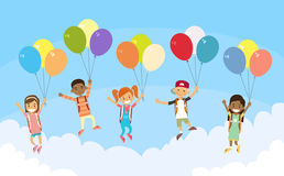 Children Group Fly Sky Hold Balloons. Flat Vector Illustration Stock Image
