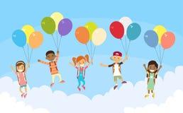 Children Group Fly Sky Hold Balloons Stock Image