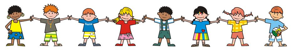 Children, group of girls and boys. Children in summer clothes. Vector illustration Royalty Free Stock Images