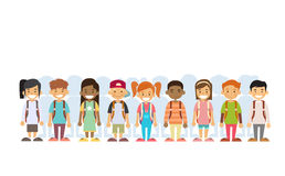 Children Group Mix Race Standing In Line Royalty Free Stock Photography