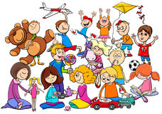 Children group playing with toys cartoon Royalty Free Stock Photography