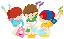 Children in group reading and discussing Royalty Free Stock Photography
