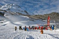 Children group in ski school in Gourette winter sport resort Stock Images