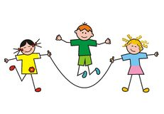 Children, group, sport. Three children jump rope. Amusing illustration Royalty Free Stock Images