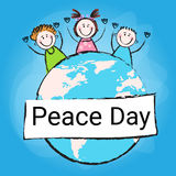 Children Group Standing Around Globe International Peace Holiday Poster Royalty Free Stock Image