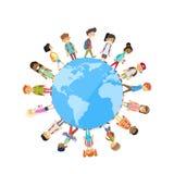 Children Group Standing Around Globe World Unity Stock Images