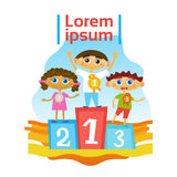 Children Group Standing On Pedestal Getting Prizes In Competition Royalty Free Stock Image