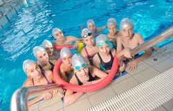 Children group  at swimming pool Royalty Free Stock Image