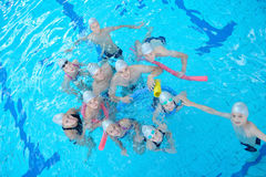 Children group  at swimming pool Stock Photos