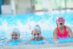 Children group  at swimming pool Stock Image