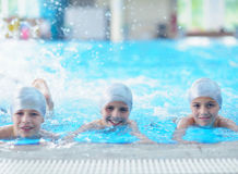 Children group  at swimming pool Royalty Free Stock Images