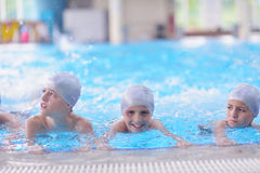 Children group  at swimming pool Stock Images