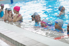 Children group  at swimming pool Royalty Free Stock Photography
