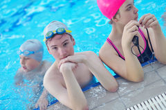 Children group  at swimming pool Stock Photo