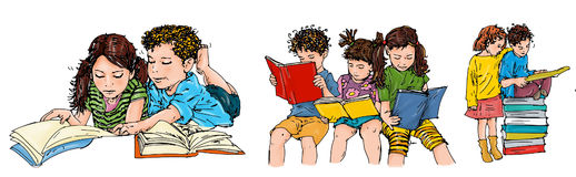 Children in groups read books illustration for kids