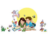 Children in groups read books illustration for kids Royalty Free Stock Photography