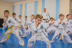 Children in the gym training Stock Photos
