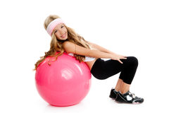 Children gym yoga girl with pilates pink ball. Children at gym with pilates pink ball on white royalty free stock images