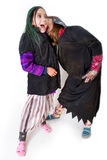 Children on Halloween as a witch and vampire Royalty Free Stock Images
