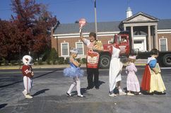 Children in Halloween Costume. At School Crossing, Webster Groves, MO Royalty Free Stock Photos