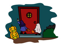 Children in halloween costume in front the door. Vector image of two children wearing witch/wizard and ghost costume, holding basket in front of the door, one of Stock Images