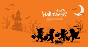 Children in Halloween go Trick or Treating. Happy Halloween. Children dressed in Halloween fancy dress to go Trick or Treating. Template for advertising royalty free illustration