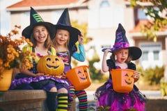 Children on Halloween stock image