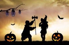 Children on Halloween night Royalty Free Stock Image