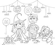 Children at Halloween party royalty free stock image