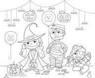 Children at Halloween party vector illustration
