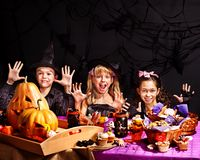 Children on Halloween party . Stock Images
