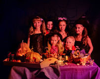 Children on Halloween party Stock Photo