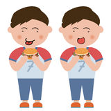 Children, hamburger. On children,  design material Royalty Free Stock Photography
