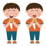 Children, hamburger. On children,  design material Stock Photos