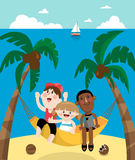 Children in a hammock during summer vacation Stock Image