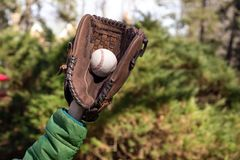 Children hand with baseglove holding baseball ball in blurred background. royalty free stock photos